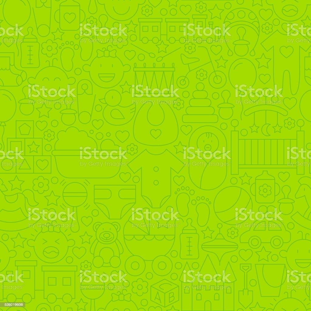 Fine ligne verte motif uniforme Jouets pour bébés - Illustration vectorielle
