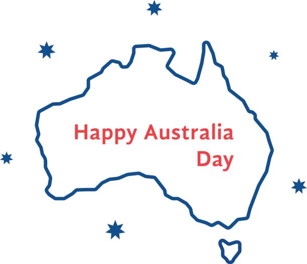 thin line happy australia day thin line happy australia day. concept of memorial, culture, geography, 26th jan month, imprint, army workforce. isolated on white background. flat style trend modern design vector illustration party conference stock illustrations