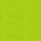 Thin Line Happy Easter Green Seamless Pattern. Vector Website Design and Seamless Background in Trendy Modern Outline Style. Spring Holiday.