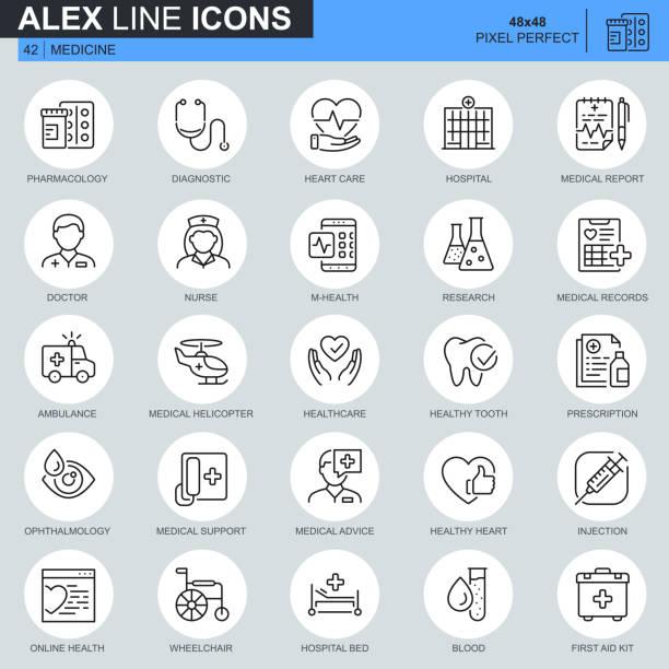 ilustrações de stock, clip art, desenhos animados e ícones de thin line healthcare and medical icons set for website - diálise