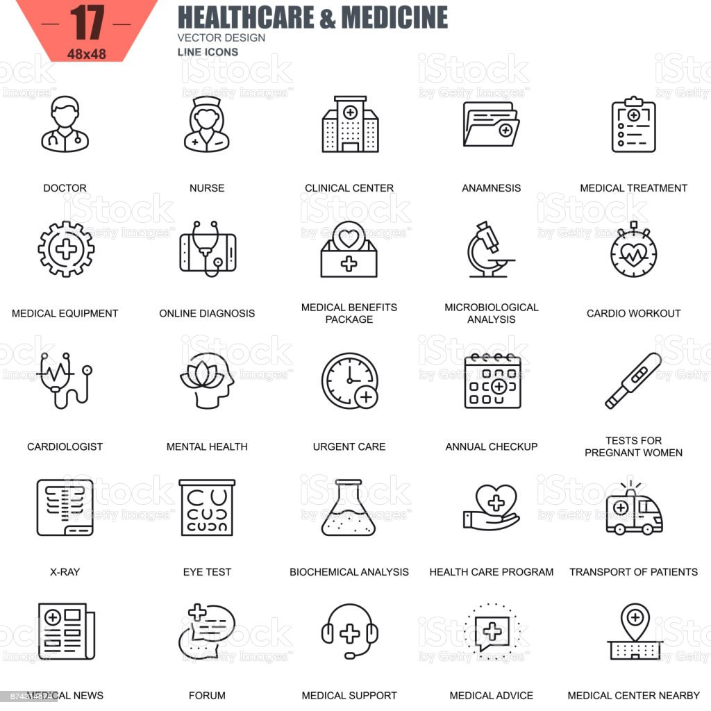 Thin line healthcare and medicine, hospital services icons