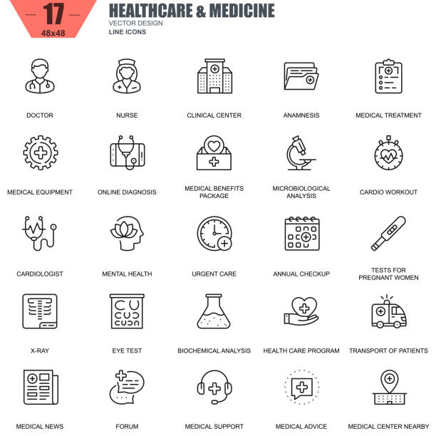 illustrazioni stock, clip art, cartoni animati e icone di tendenza di thin line healthcare and medicine, hospital services icons - personale medico