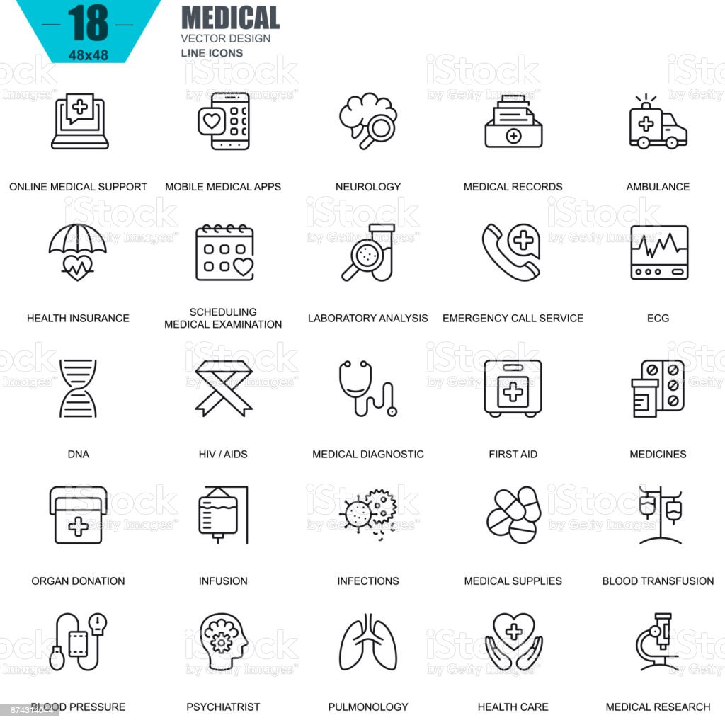 Thin line healthcare and medicine, medical equipment icons vector art illustration