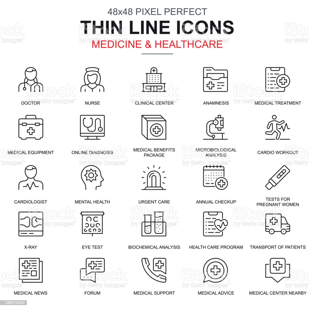 Thin line healthcare and medicine, services icons set royalty-free thin line healthcare and medicine services icons set stock illustration - download image now