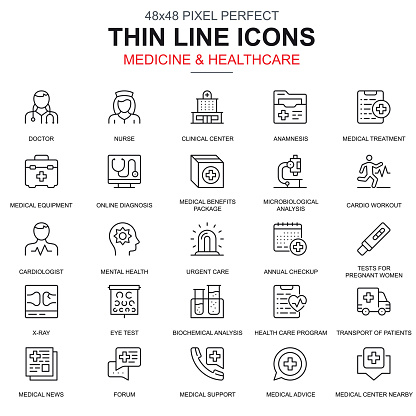 Thin Line Healthcare And Medicine Services Icons Set Stock Illustration - Download Image Now