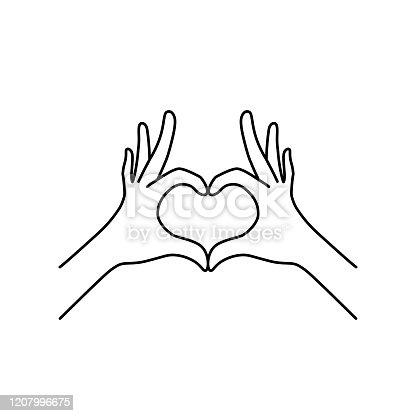 istock thin line heart hand gesture black icon 1207996675