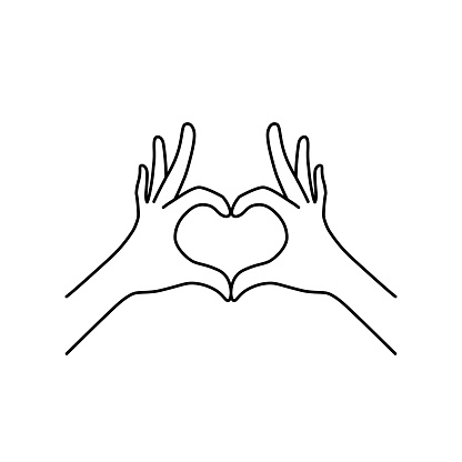 thin line heart hand gesture black icon