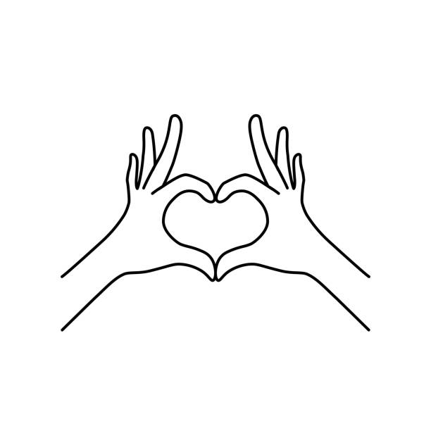 thin line heart hand gesture black icon - wykonać stock illustrations