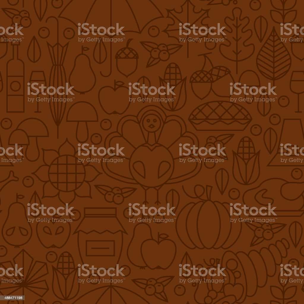Thin Line Holiday Thanksgiving Day Brown Seamless Pattern. Vector...