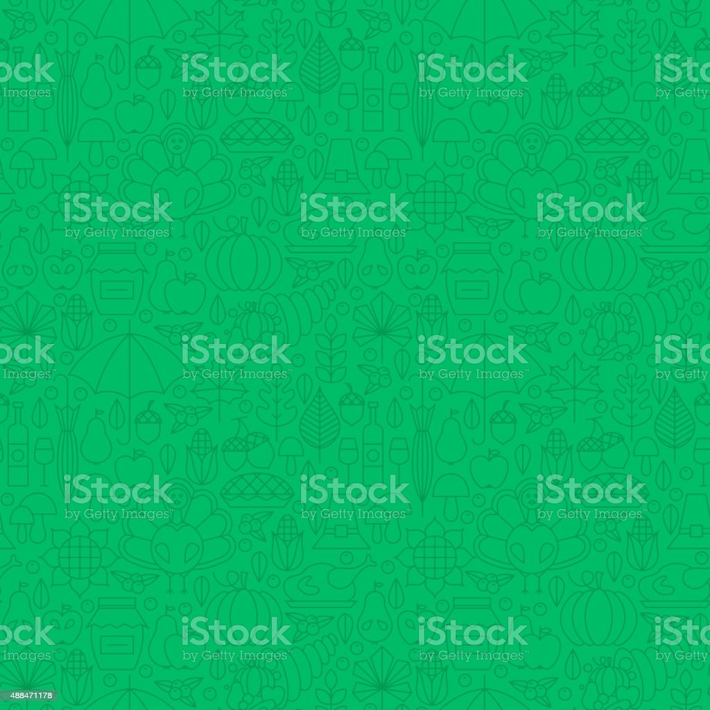 Thin Line Holiday Thanksgiving Dinner Seamless Green Pattern. Vector...