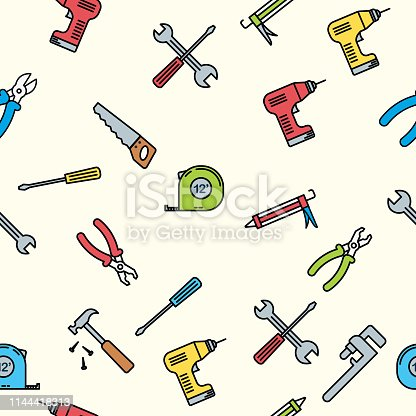 Home improvement thin line flat design icons in a seamless pattern.