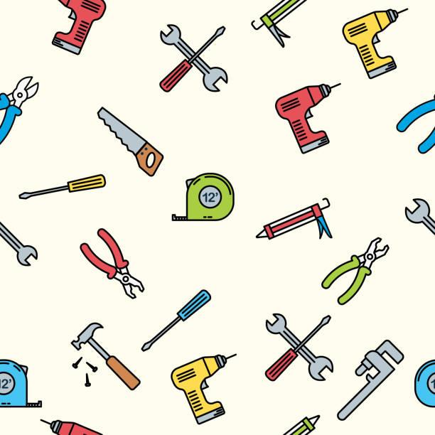 Thin Line Home Improvement DIY Background Pattern vector art illustration