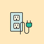 Home improvement thin line flat design icon. Cute simple icon Electrical Socket & Plug