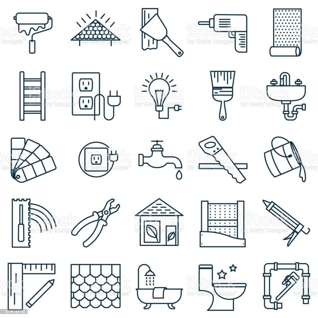 Dünne Linie Home Improvement DIY-Symbol – Vektorgrafik