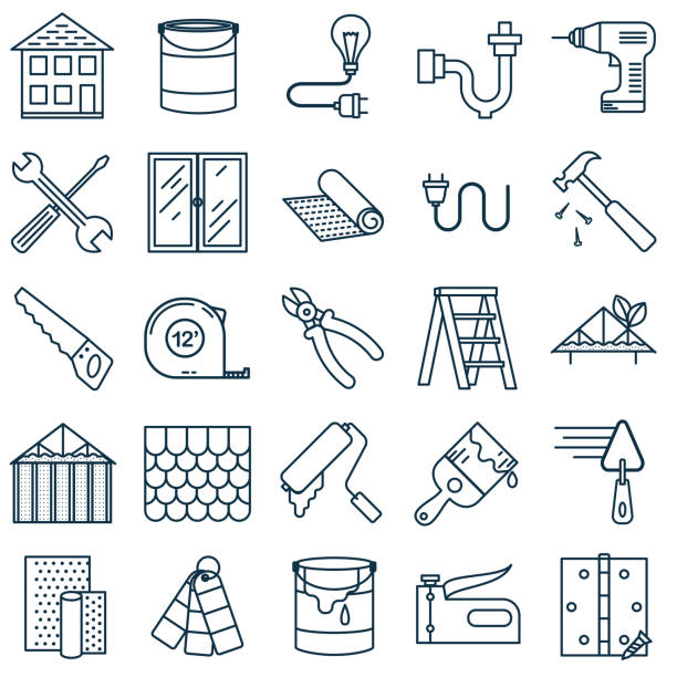 stockillustraties, clipart, cartoons en iconen met dunne lijn home improvement diy pictogram - gips bouwmateriaal