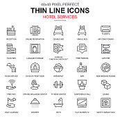 Thin line hotel services and facilities, online booking icons set for website and mobile site apps. Contains such Icons as Travel, Bar. 48x48 Pixel Perfect. Linear pictogram pack. Vector illustration.