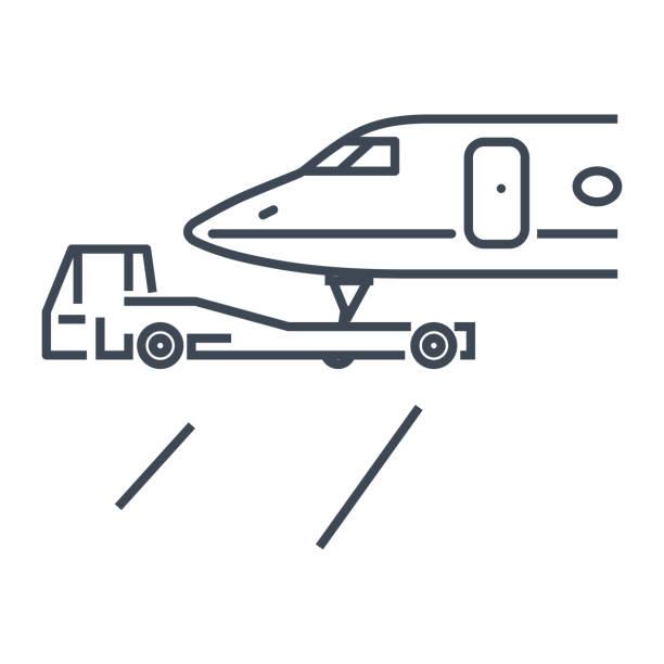 bildbanksillustrationer, clip art samt tecknat material och ikoner med tunna linjen ikonen flygplan bogsering traktorer, affärsjet flygplan - traktor pulling
