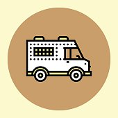 Thin Line Icon. Armored Bank Vehicle. Simple Trendy Modern Style Round Color Vector Illustration.