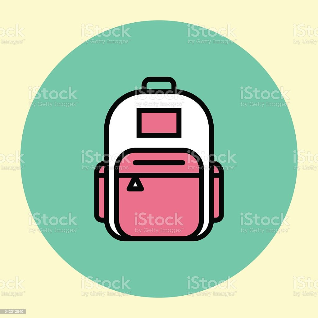 Thin Line Icon. Backpack. vector art illustration