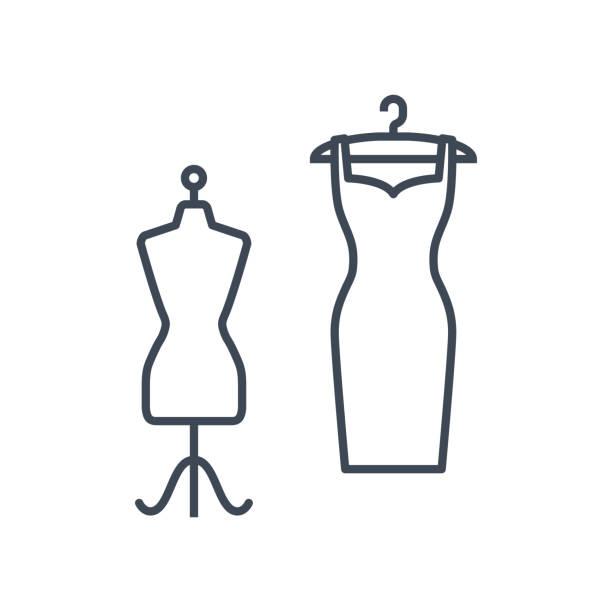 illustrazioni stock, clip art, cartoni animati e icone di tendenza di thin line icon clothes hanger with dress and mannequin - tailor working