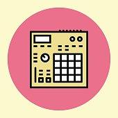 Thin Line Icon. Drum Machine Sampler.