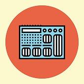 Thin Line Icon. Guitar Processor.