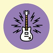 Thin Line Icon. Guitar. Simple Trendy Modern Style Round Color Vector Illustration.