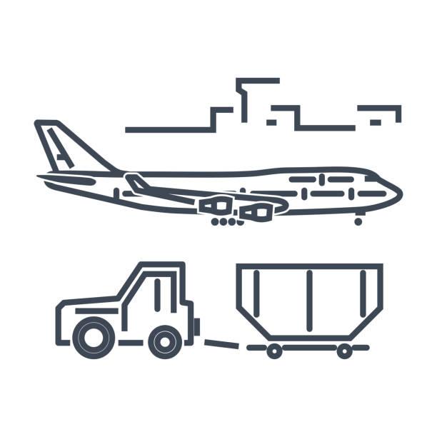 bildbanksillustrationer, clip art samt tecknat material och ikoner med stöd för tunna linjen ikonen bagage bogsering lastbil, flygplats marken - traktor pulling