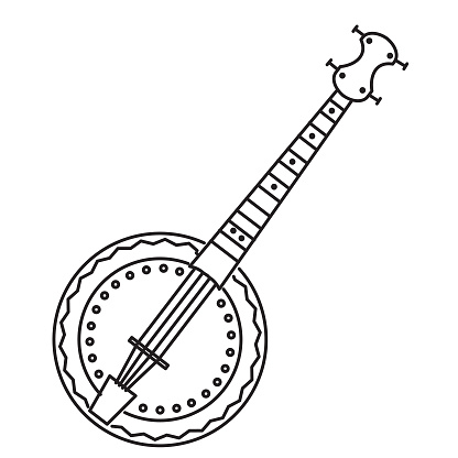 Thin line icon of a banjo music instrument on white background