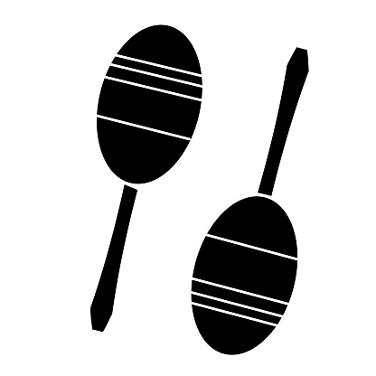 Thin line icon of a set of maracas music instrument on white background