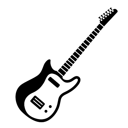 Thin line icon of an electric guitar music instrument on white background