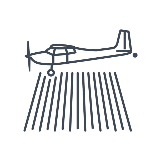 dünne linie symbol flugzeug über den feld-hof - aerial overview soil stock-grafiken, -clipart, -cartoons und -symbole