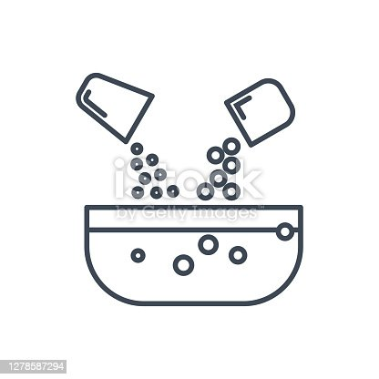 Thin line icon pouring, mixing ingredients, industrial, kitchen utensils