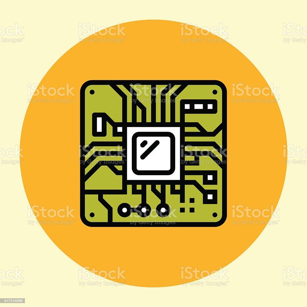 Thin Line Icon. Processor. vector art illustration