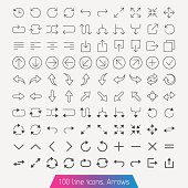 Thin line icon set - Arrows