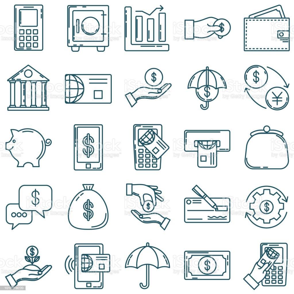 Dünne Linie-Icon-Set - Finanz- und Geld-Konzepte – Vektorgrafik