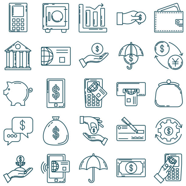 Thin Line Icon Set - Financial And Money Concepts vector art illustration