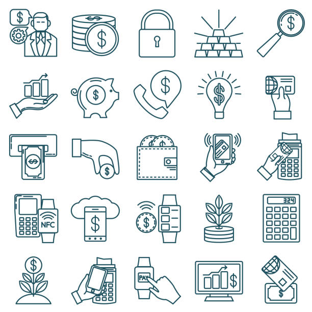 Thin Line Icon Set - Financial And Money Concepts Financial concepts icons in thin line flat design style. Money, payments and  technology. banking drawings stock illustrations