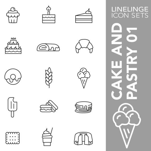 bildbanksillustrationer, clip art samt tecknat material och ikoner med tunn linje ikonuppsättning av kakan och bakverk 01 - crepe