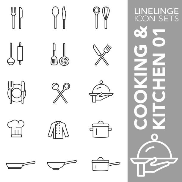 stockillustraties, clipart, cartoons en iconen met dunne lijn icon set van koken en keuken 01 - gedekte tafel