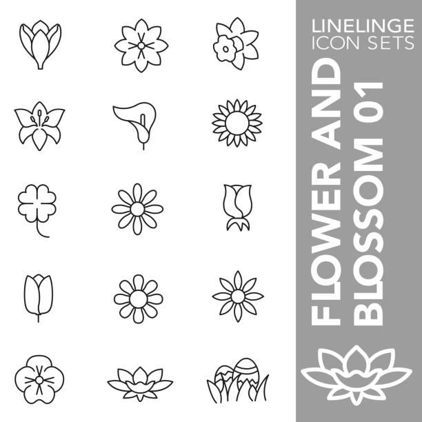 꽃과 꽃 01의 가는 선 아이콘 세트 - 꽃밥 stock illustrations