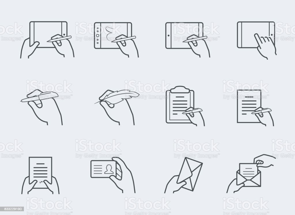 Thin line icon set of hands holding and interacting with objects vector art illustration