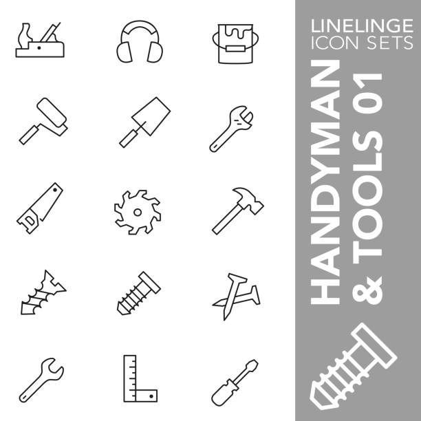 Thin line icon set of Handyman and Tools 01 High quality thin line icons of tools and constructions. Linelinge are the best pictogram pack unique design for all dimensions and devices. Vector graphic, logo, symbol and website content. right angle stock illustrations