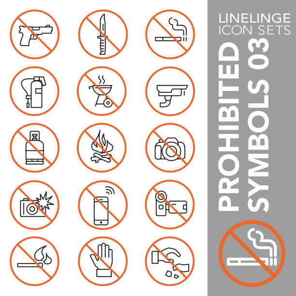 Thin line icon set of Prohibited Symbols 03 High quality thin line icons of no symbols and do not sign. Linelinge are the best pictogram pack unique design for all dimensions and devices. Vector graphic, logo, symbol and website content. weapon stock illustrations