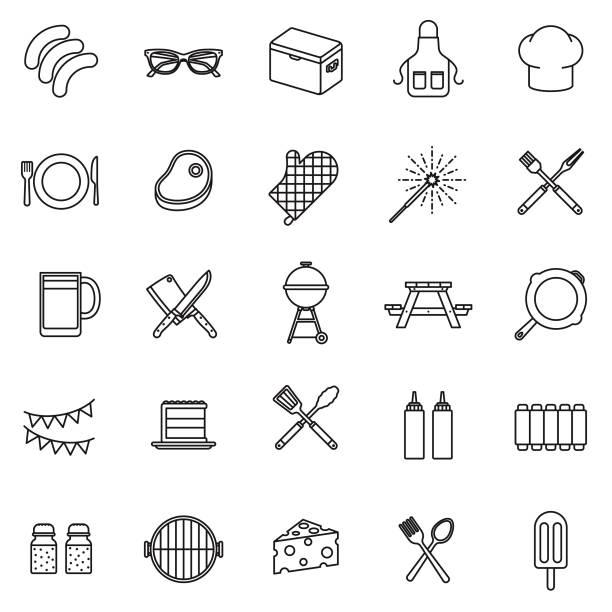 BBQ Thin Line Icon Set - illustrazione arte vettoriale