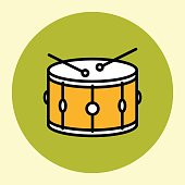 Thin Line Icon. Snare Drum. Simple Trendy Modern Style Round Color Vector Illustration.