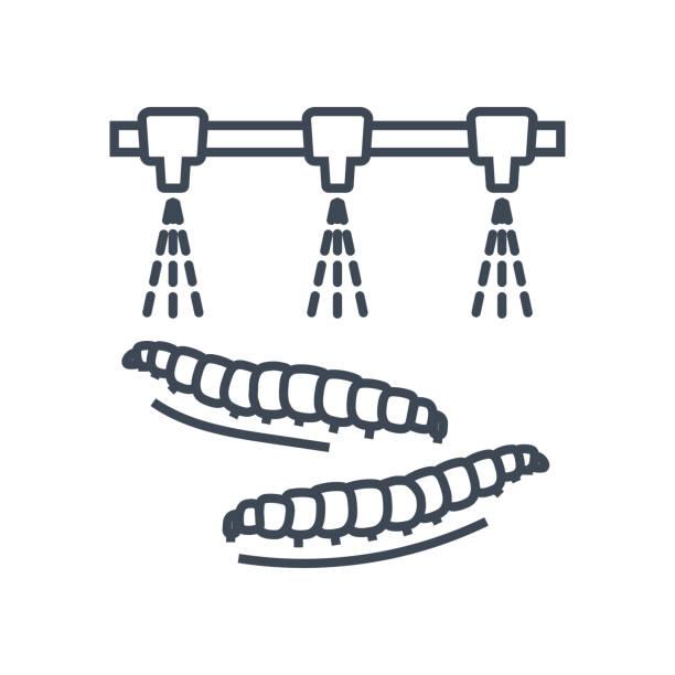 dünne liniensymbol sprühen von pestiziden, raupen - aerial overview soil stock-grafiken, -clipart, -cartoons und -symbole