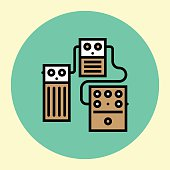 Thin Line Icon. Stompboxes Chain Guitar Pedals.