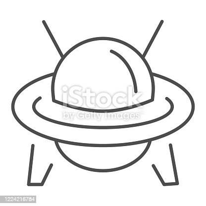 UFO thin line icon, transportation symbol, Flying Saucer vector sign on white background, Ufo spaceship icon in outline style for mobile concept and web design. Vector graphics