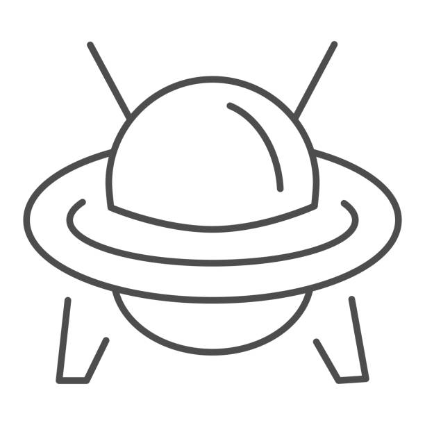 UFO thin line icon, transportation symbol, Flying Saucer vector sign on white background, Ufo spaceship icon in outline style for mobile concept and web design. Vector graphics. UFO thin line icon, transportation symbol, Flying Saucer vector sign on white background, Ufo spaceship icon in outline style for mobile concept and web design. Vector graphics ancient civilization stock illustrations